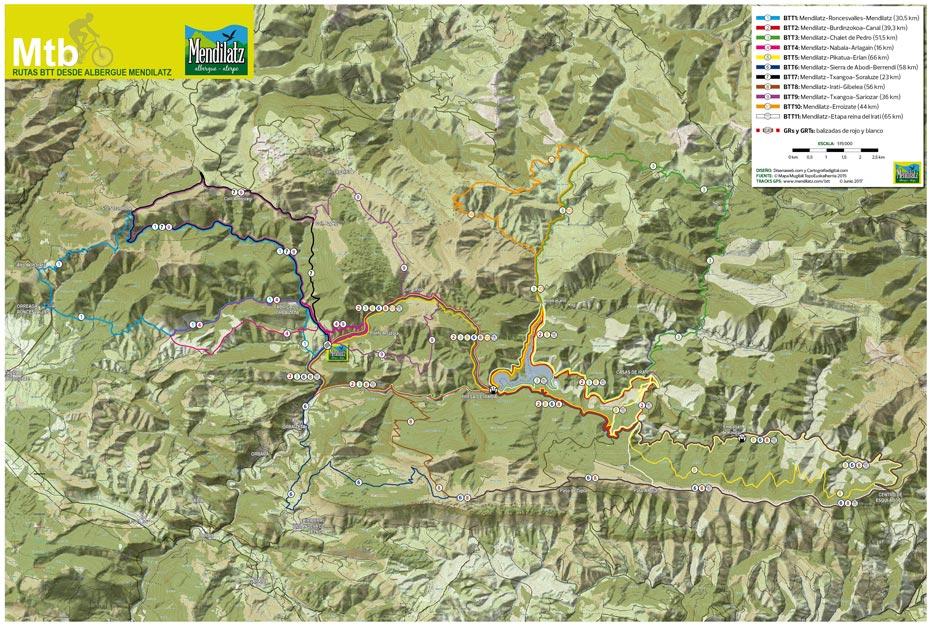 Affiche des itinéraires VTT de Mendilatz. Demande à nos dossiers pour officialiser votre hébergement